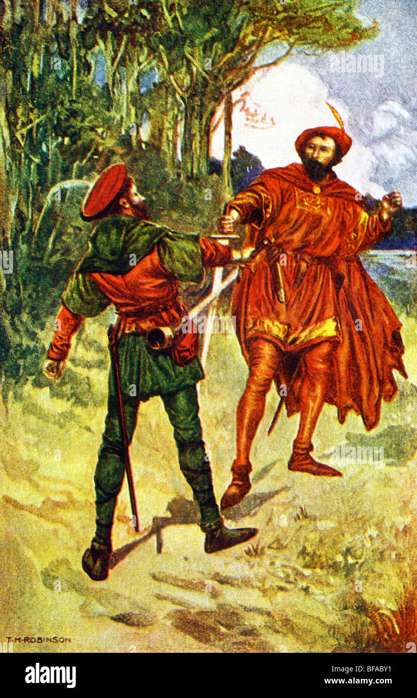 Robin Hood was a legendary outlaw of medieval England who robbed the rich to help the poor. - Stock Image