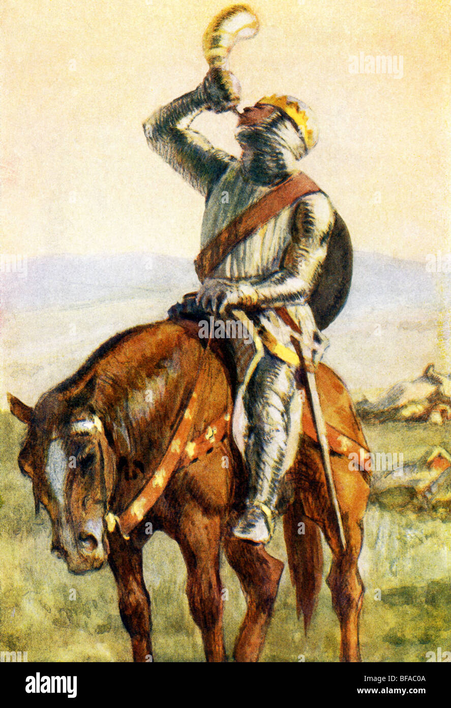 Roland blows his horn at Roncesvalles, as he knows defeat and death are imminent but wants Charlemagne to avenge - Stock Image