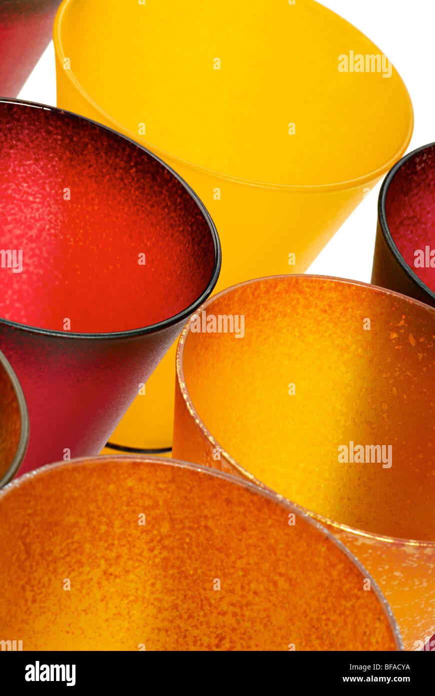 Photo of yellow and red glasses. Macro. Stock Photo