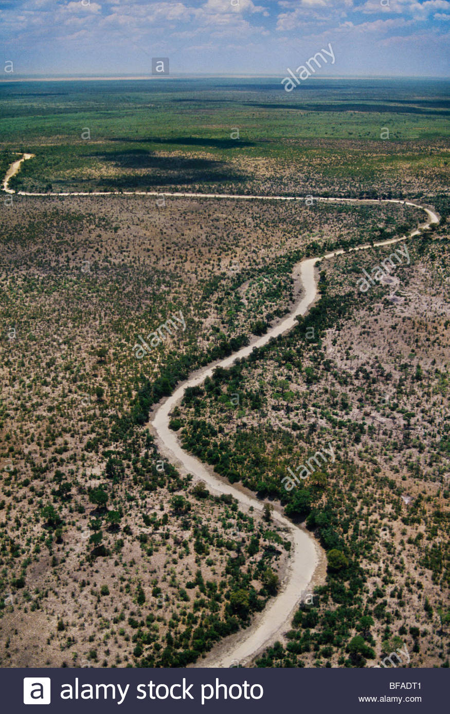 Dry river bed (aerial), Makgadikgadi Pans, Botswana Stock Photo