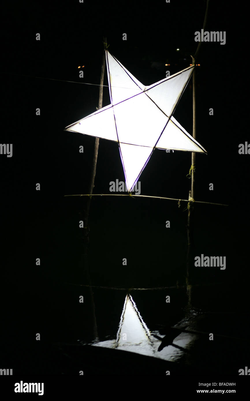 Indian pentagram Christmas symbol over water Goa India - Stock Image