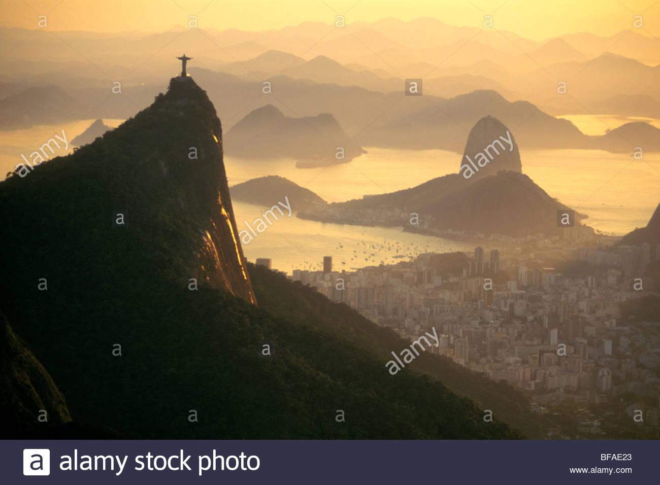 Jesus statue overlooking Rio de Janeiro (aerial), Brazil - Stock Image