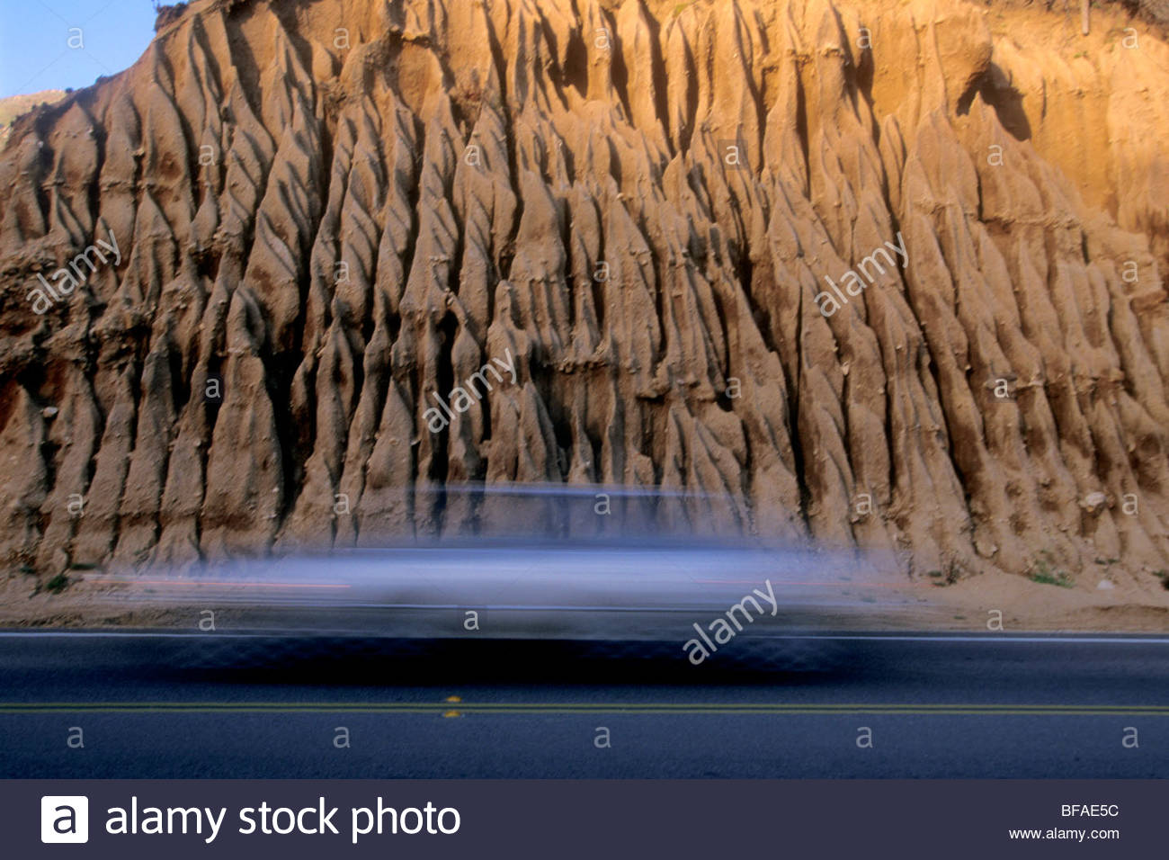 Eroded slopes along Highway 1, Big Sur, California - Stock Image