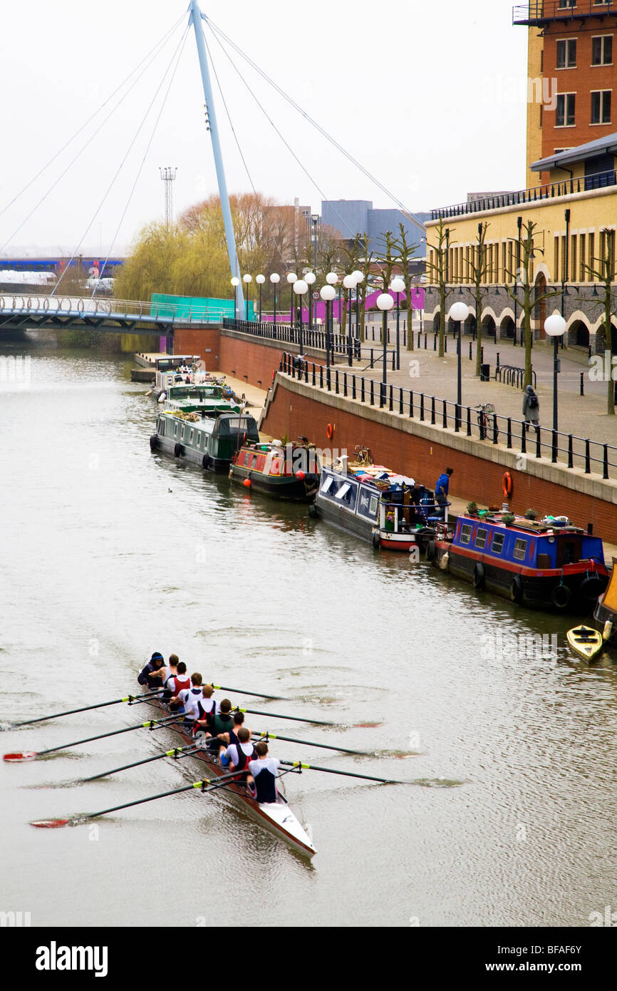 Rowers practicing in Bristol. - Stock Image