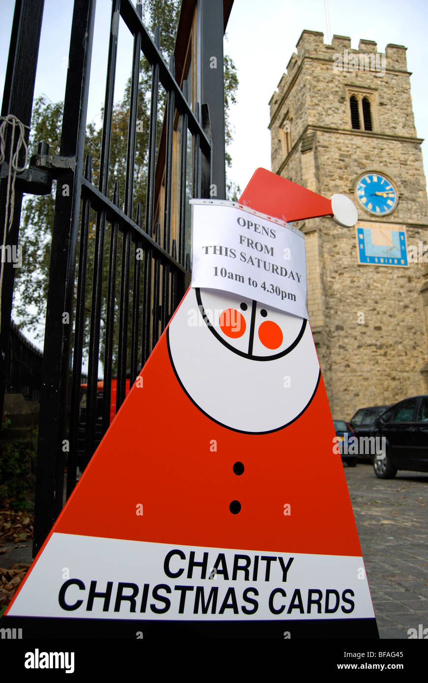 charity christmas cards sign in shape of father christmas, at st ...