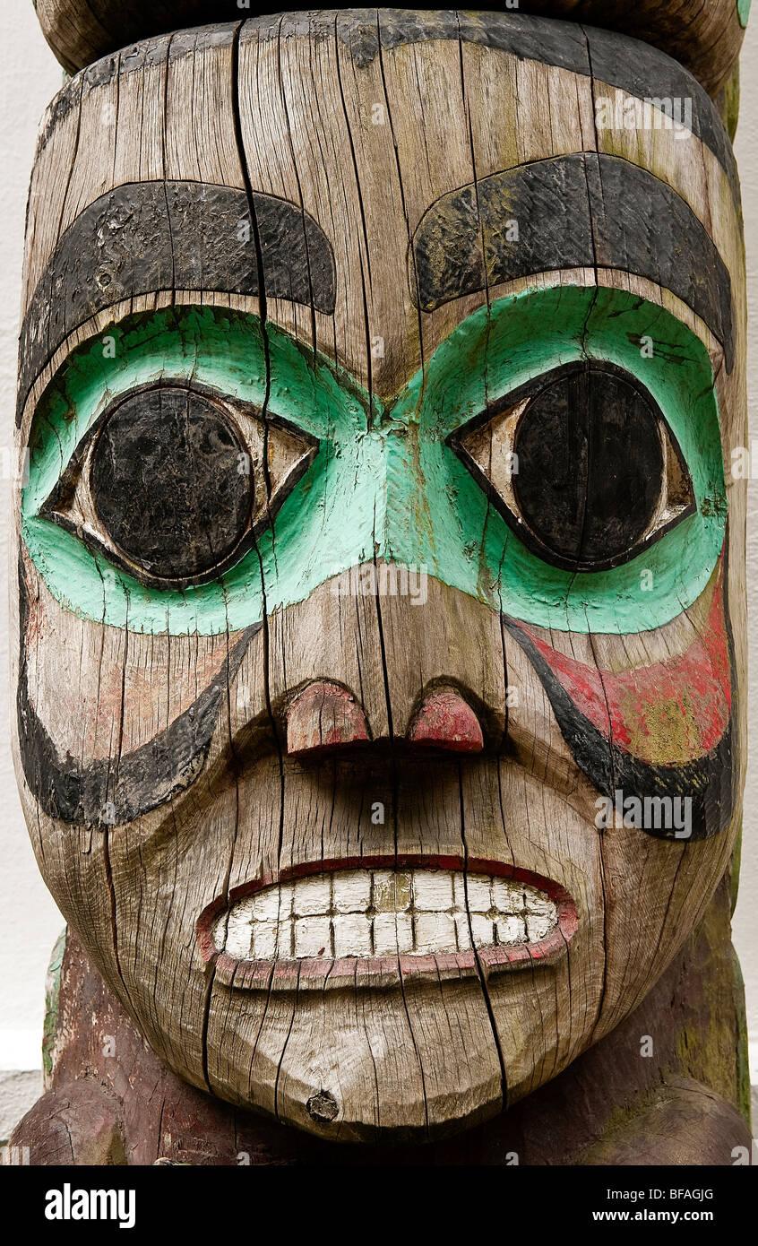 Totem pole detail, Juneau, Alaska, USA - Stock Image