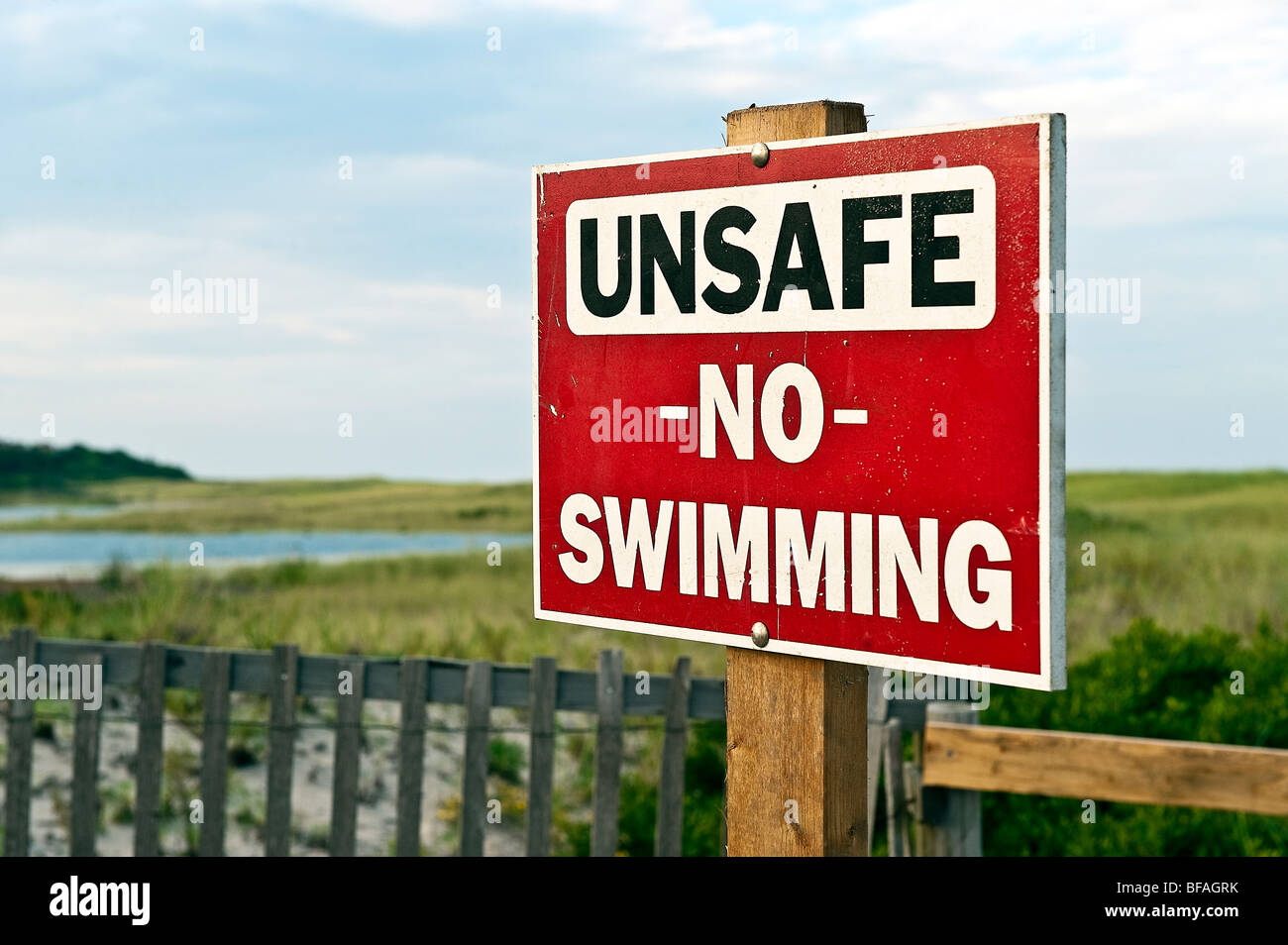 Warning sign of unsafe beach, Nauset Beach, Orleans, Cape Cod, MA, USA - Stock Image