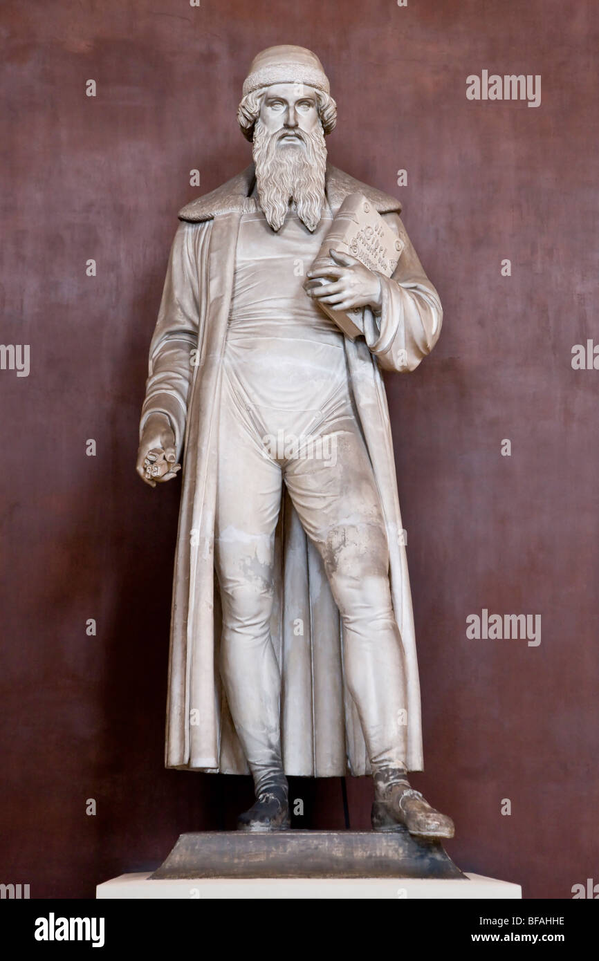 Sculpture of Johannes Gutenberg the inventor of mechanical printing press - Stock Image