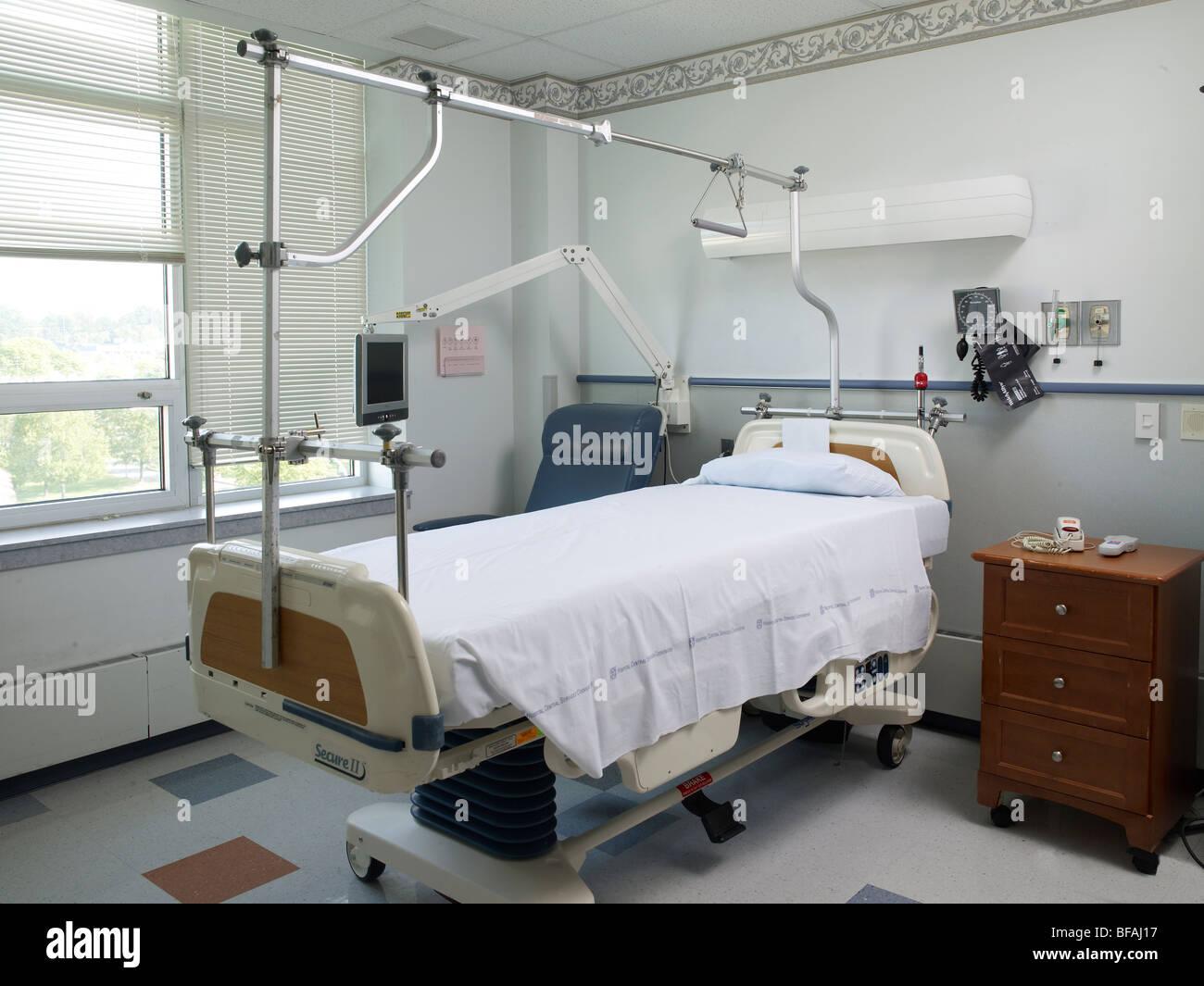 Genial Hospital Bed In Empty Hospital Room, USA