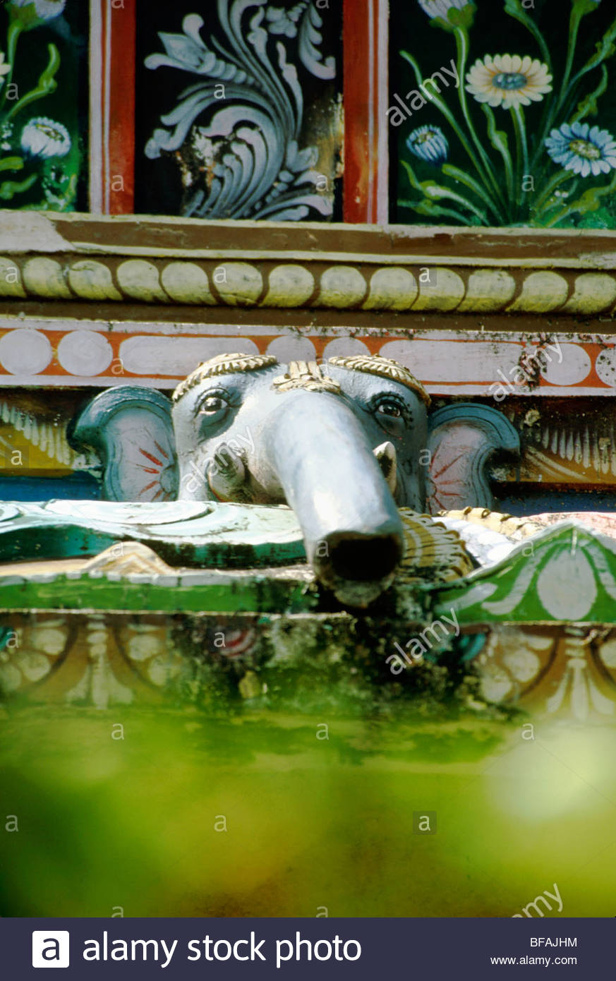 Elephant as downspout on Hindu temple, Kerala, India - Stock Image