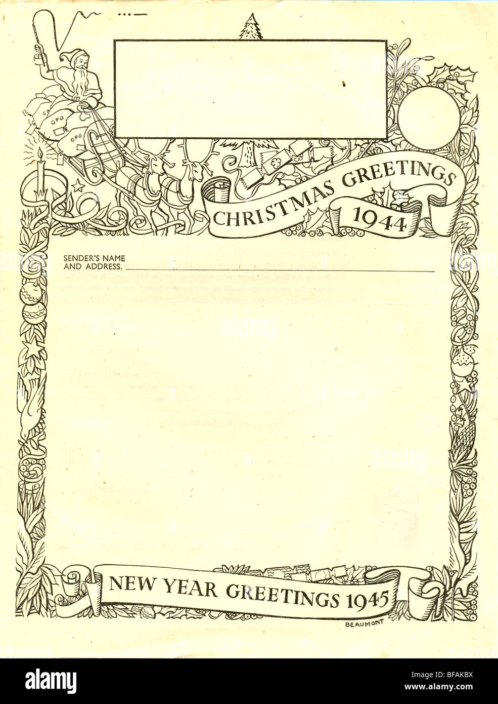Post Office Christmas Greetings Airgraph form 1944 - Stock Image