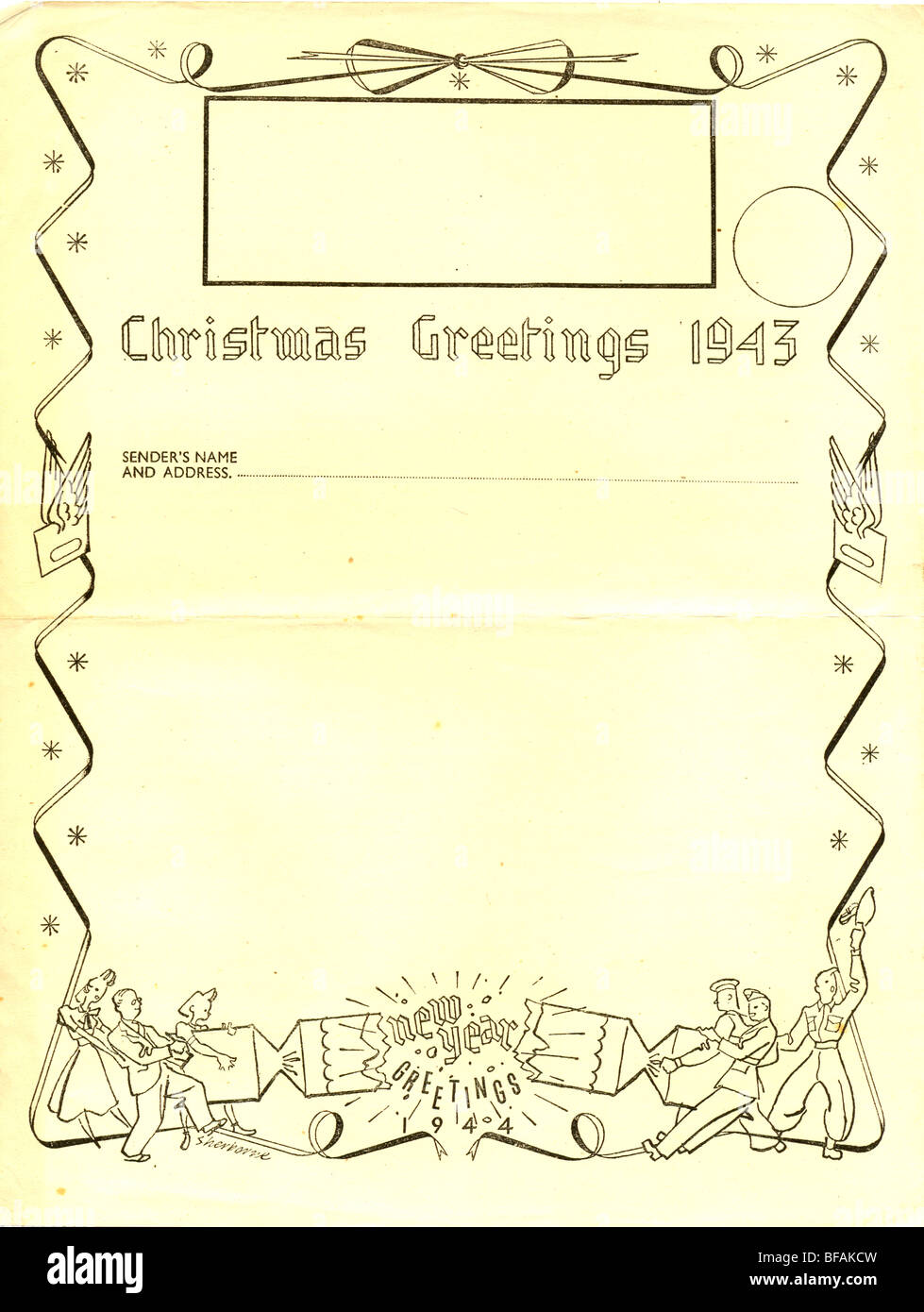 Post Office Christmas Airgraph form 1943 - Stock Image