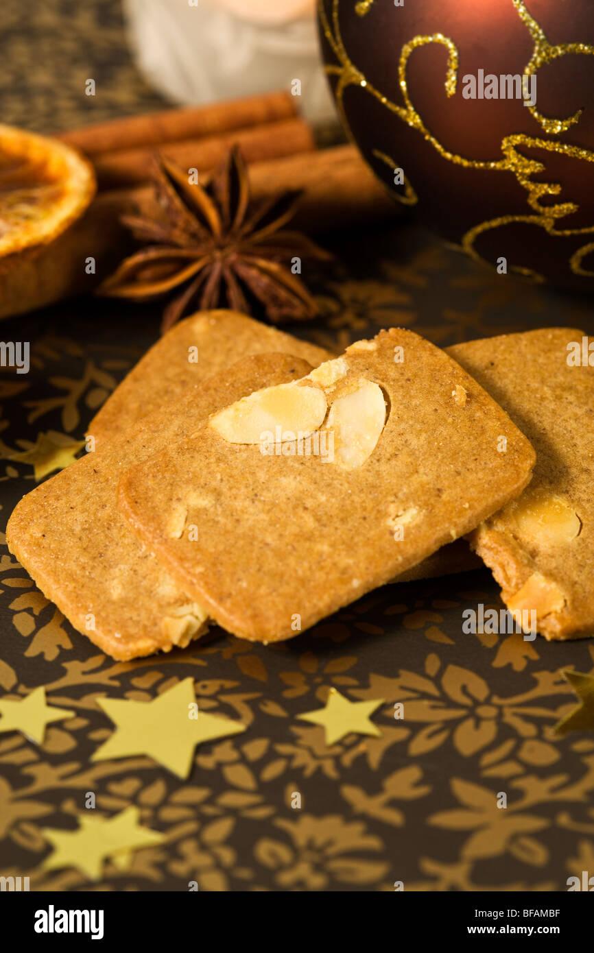german mandelbrot cookies and christmas decoration - Stock Image