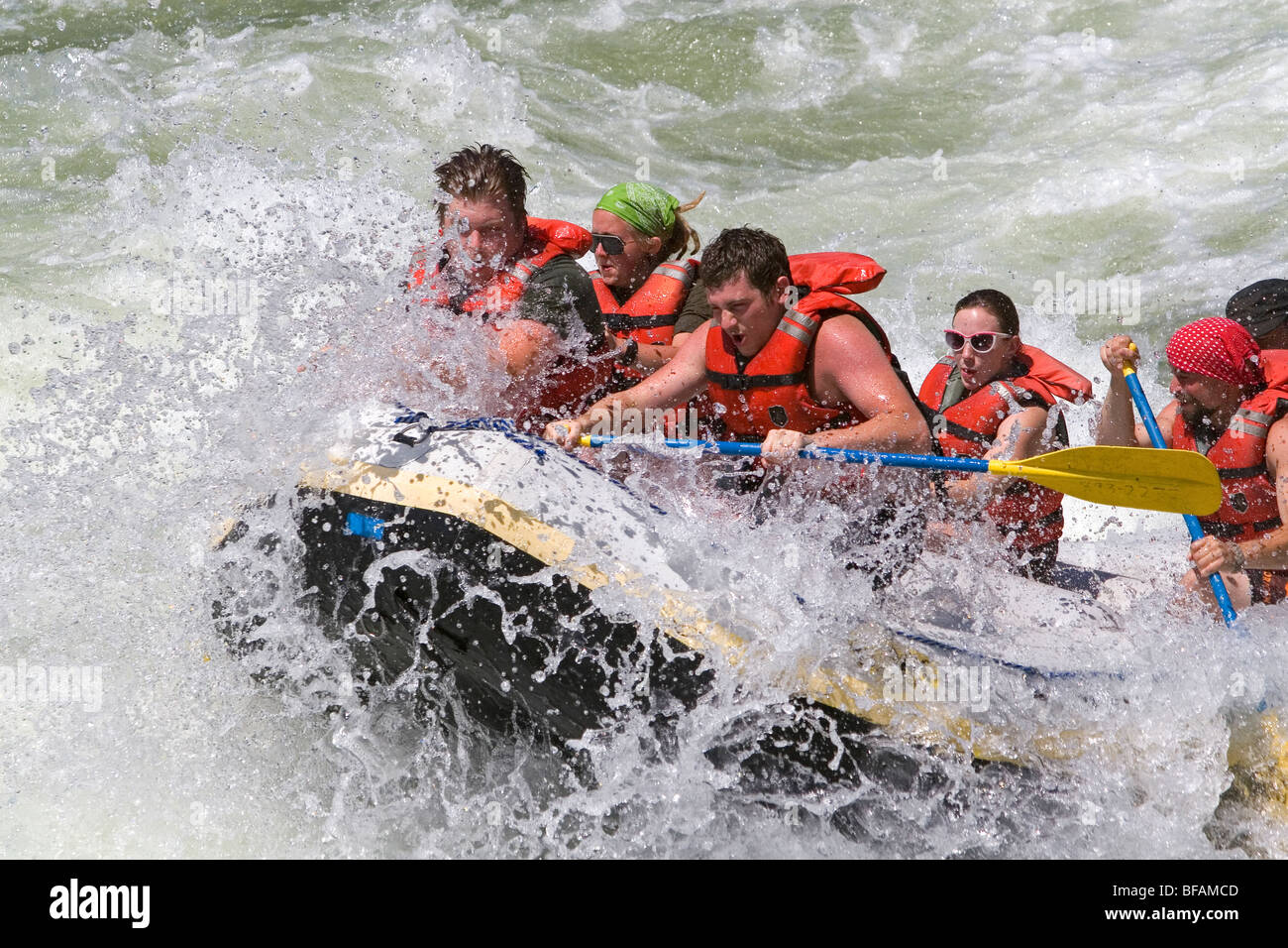 Whitewater rafting the main Payette River in southwestern Idaho, USA. - Stock Image