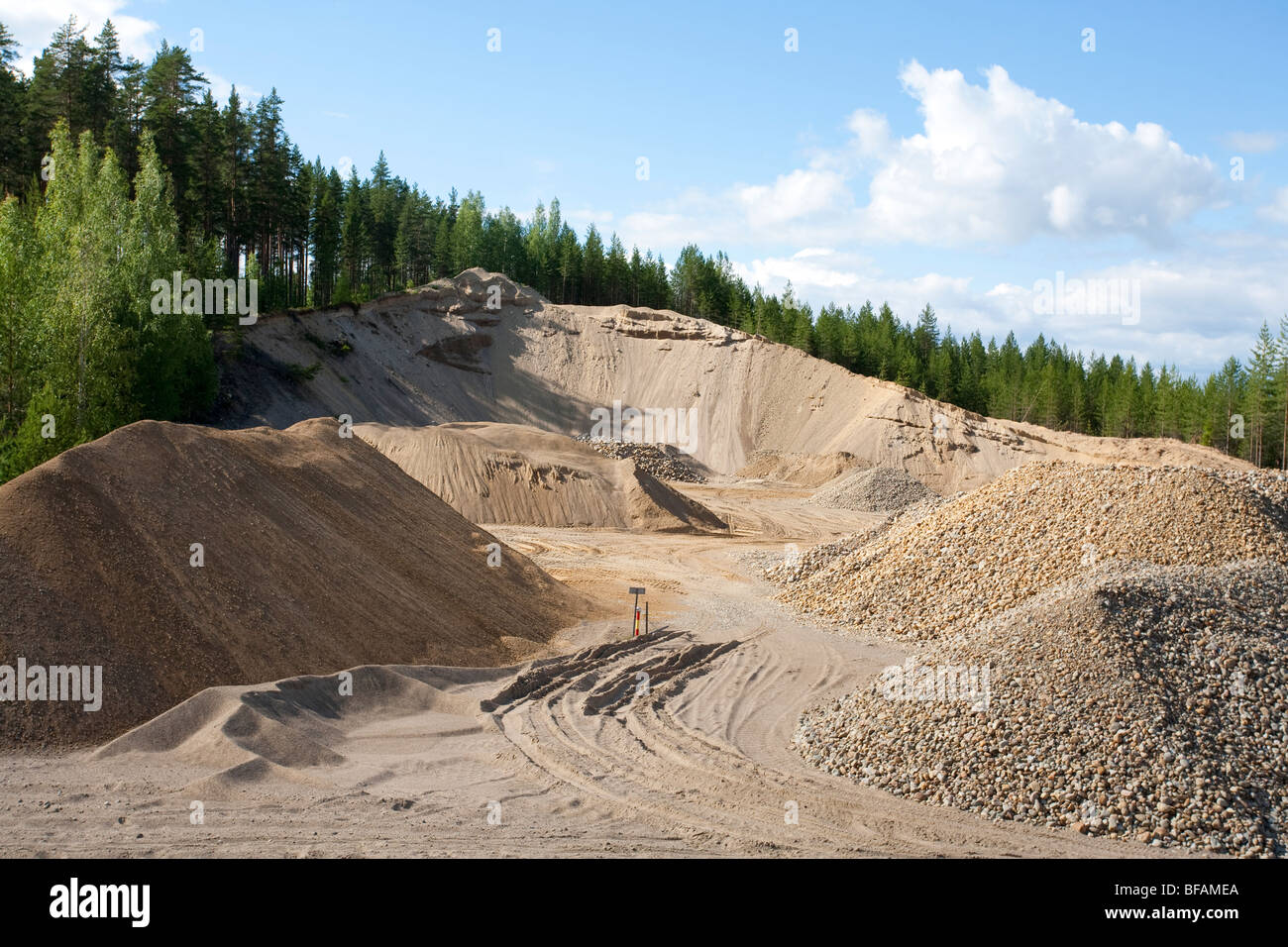 Gravel pit at an ice-age esker , Finland - Stock Image