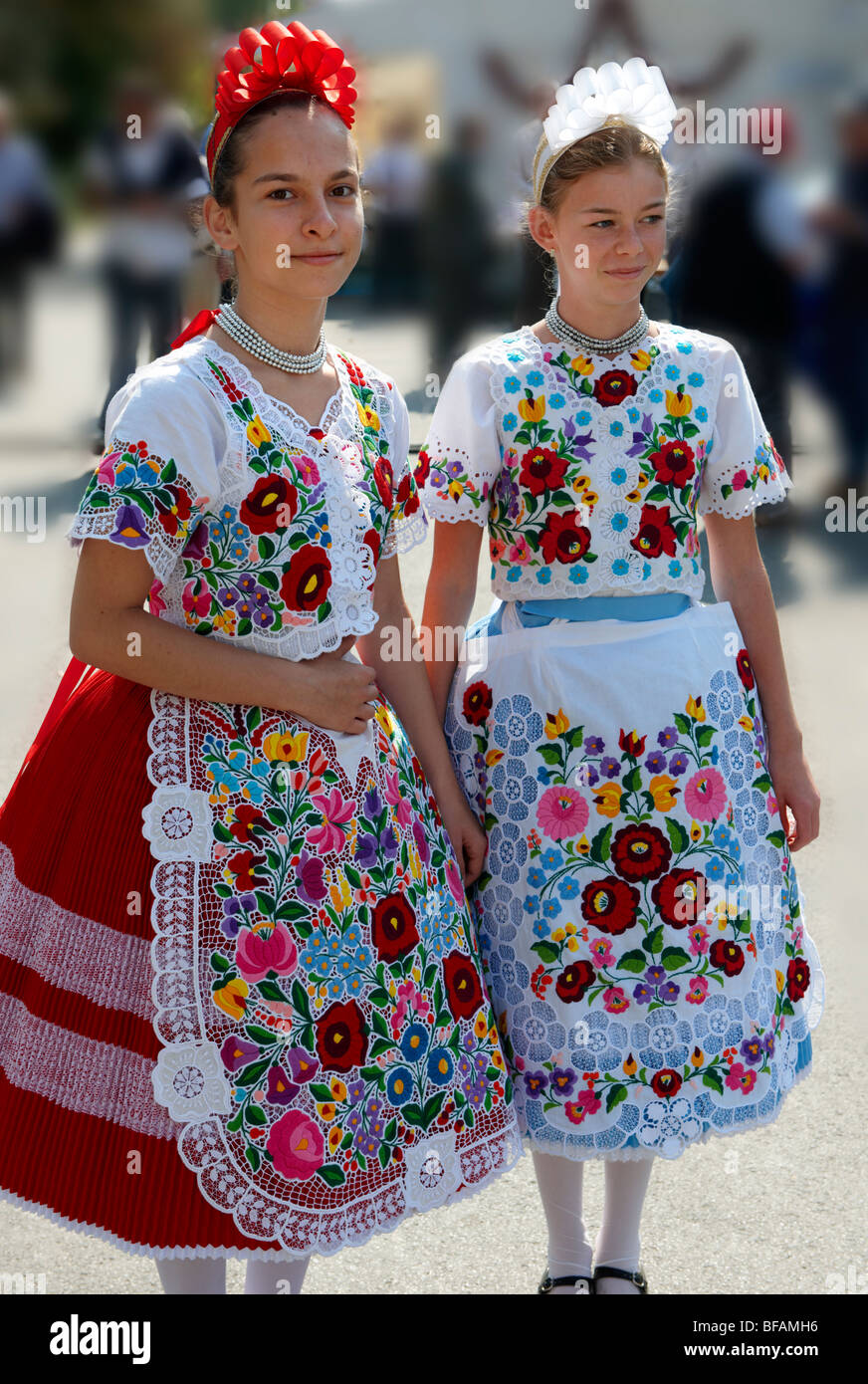 Young women in traditional Kalocsa dress at the paprka ...