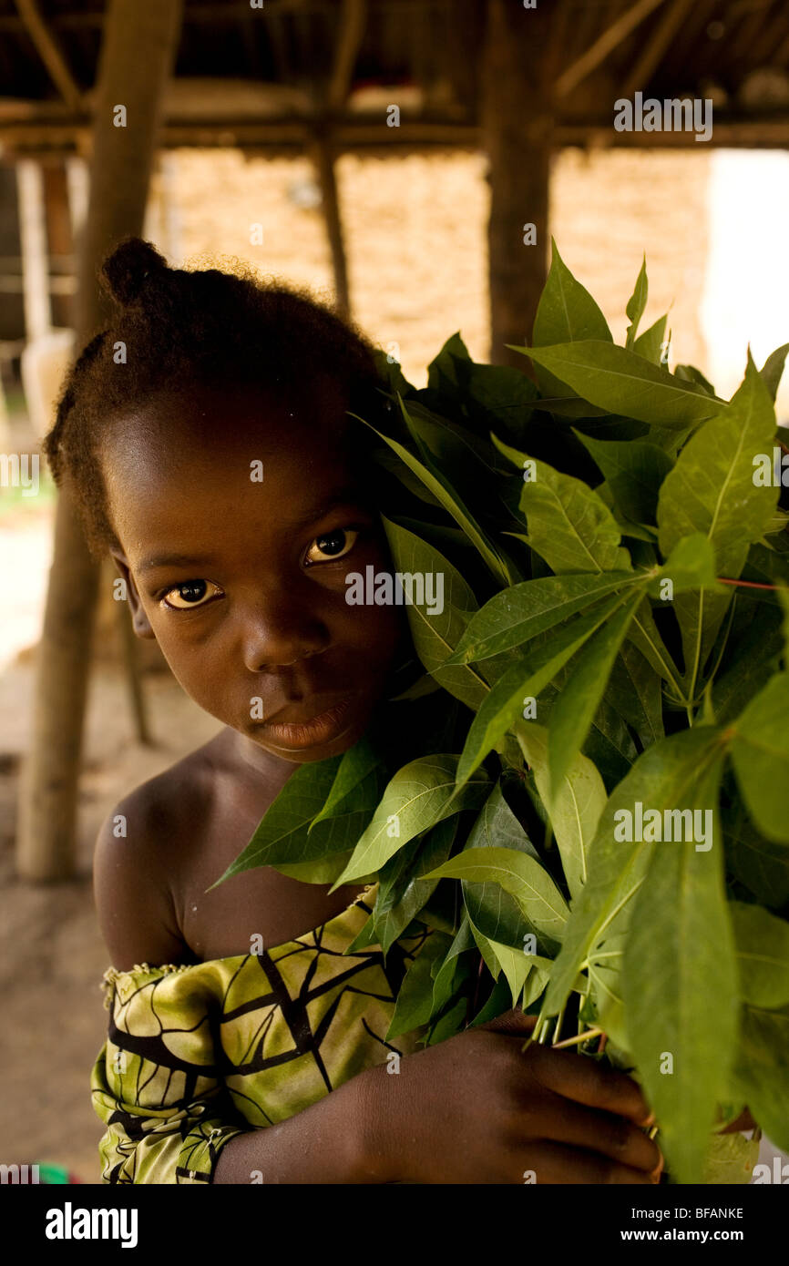 Girl with cassava leaves ready to be pounded for a meal. Kingsville, Liberia, West Africa. - Stock Image