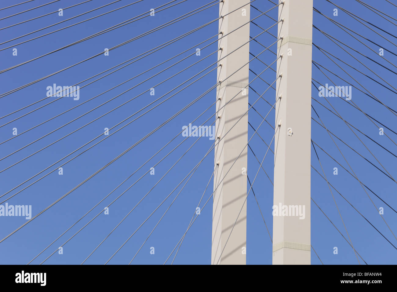 Detail shot of the structure of The Queen Elizabeth Bridge over the river Thames at Dartford, photographed from - Stock Image