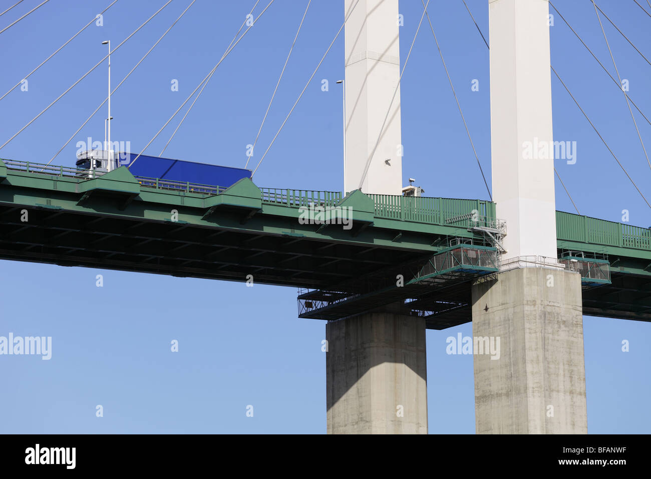 The Queen Elizabeth Bridge over the river Thames at Dartford, photographed from the Kent shore - Stock Image