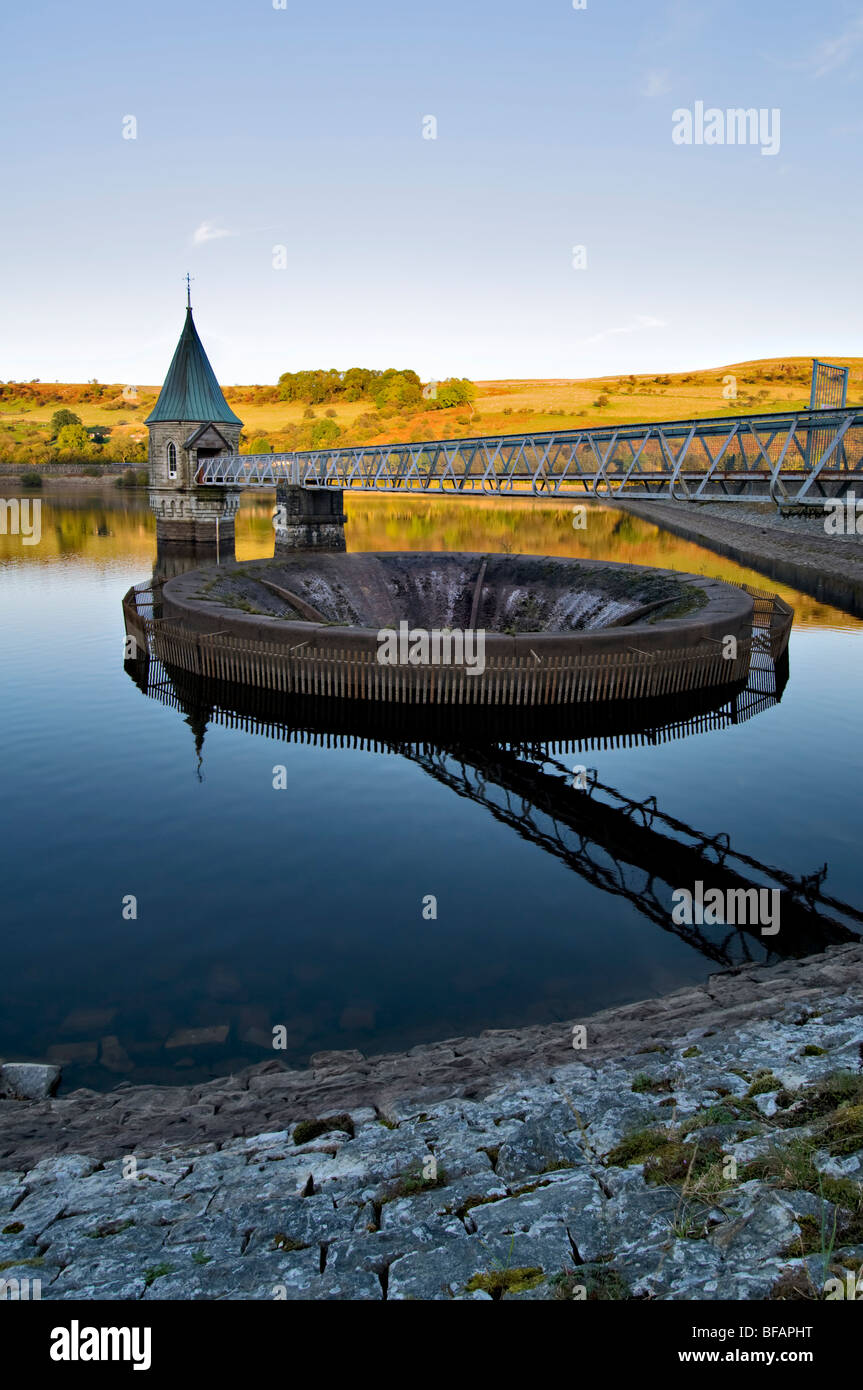 Pontsticill Reservoir (known locally as Dolygaer Lake) in the Brecon Beacons in Mid-Wales early evening with reflection Stock Photo