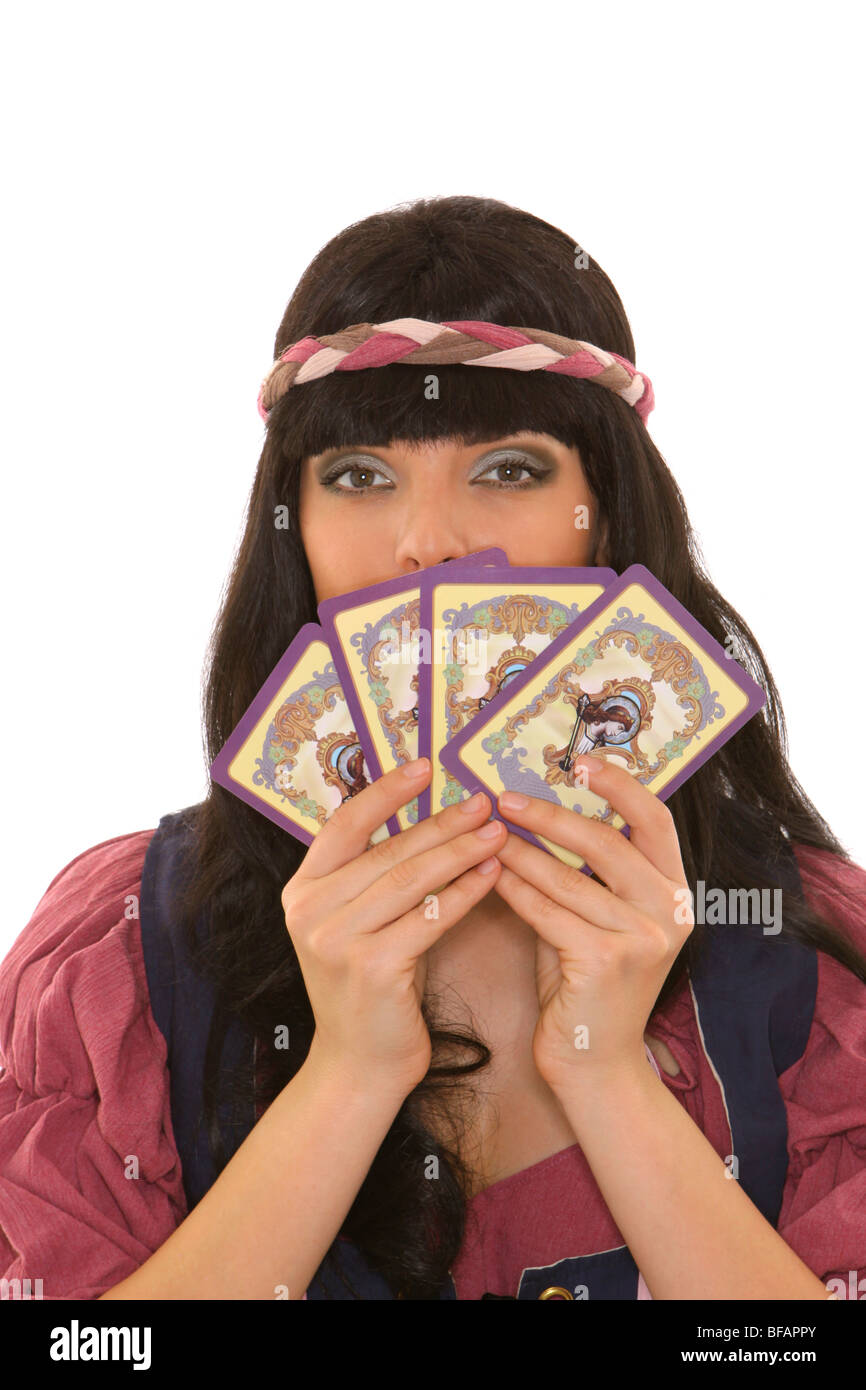 fortune teller with tarot cards Stock Photo