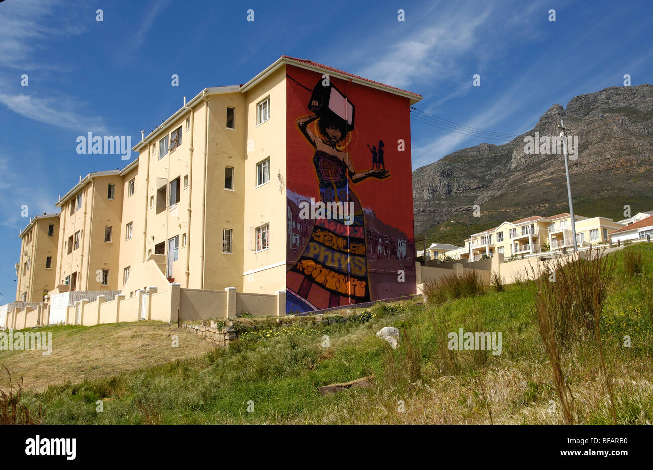 Cape town western cape south africa africa flats in district 6 with mural on wall