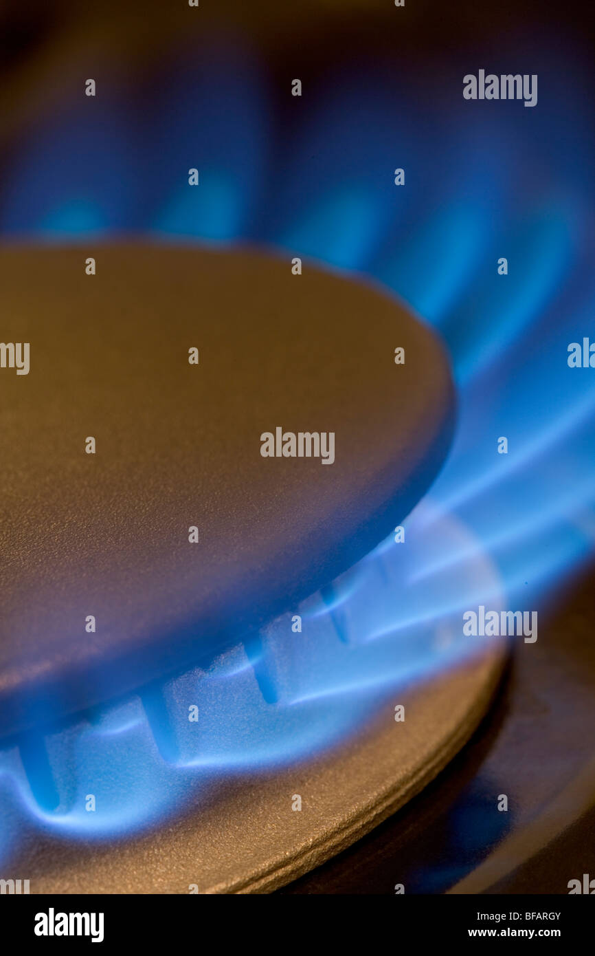 A stove-top gas burner with its blue flames - Stock Image
