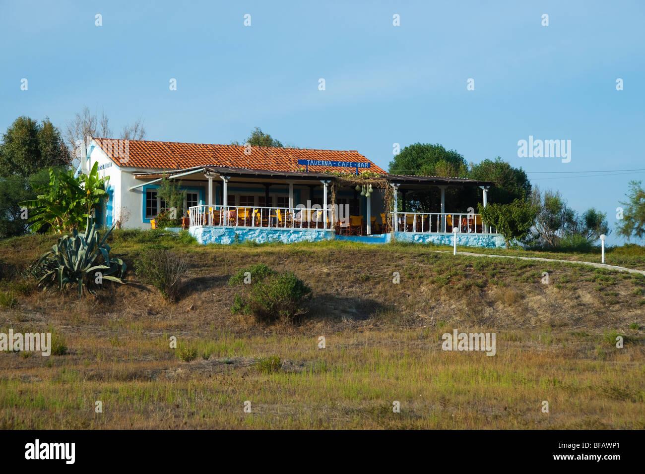 Xi beach near Lixouri on the Pali peninsular of Kefalonia - beach restaurant - Stock Image