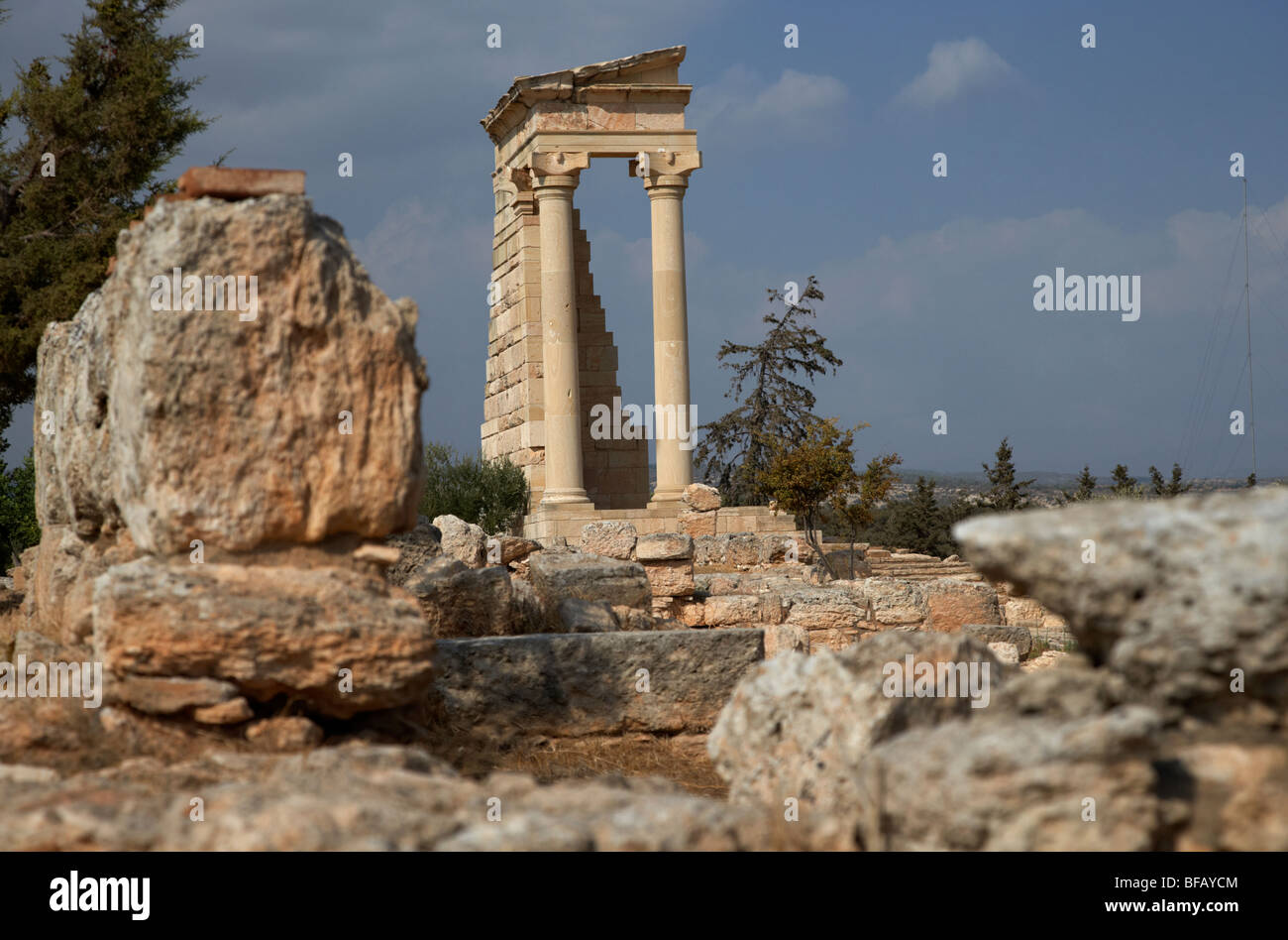 temple of apollo hylates in the sanctuary of apollon ylatis at kourion archeological site republic of cyprus europe - Stock Image