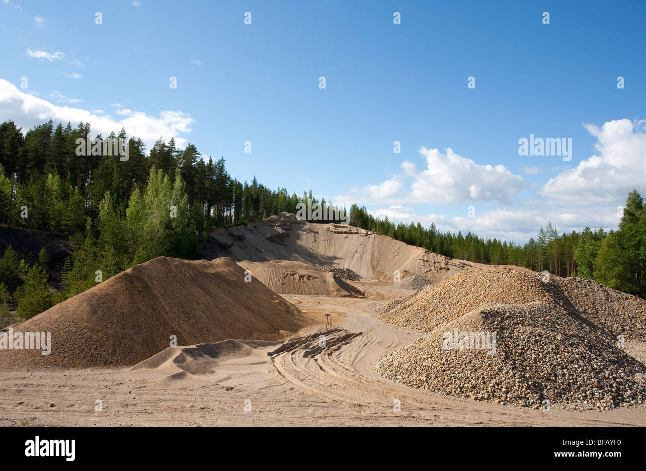 Wall of a sandpit in a sandy ridge , Finland - Stock Image