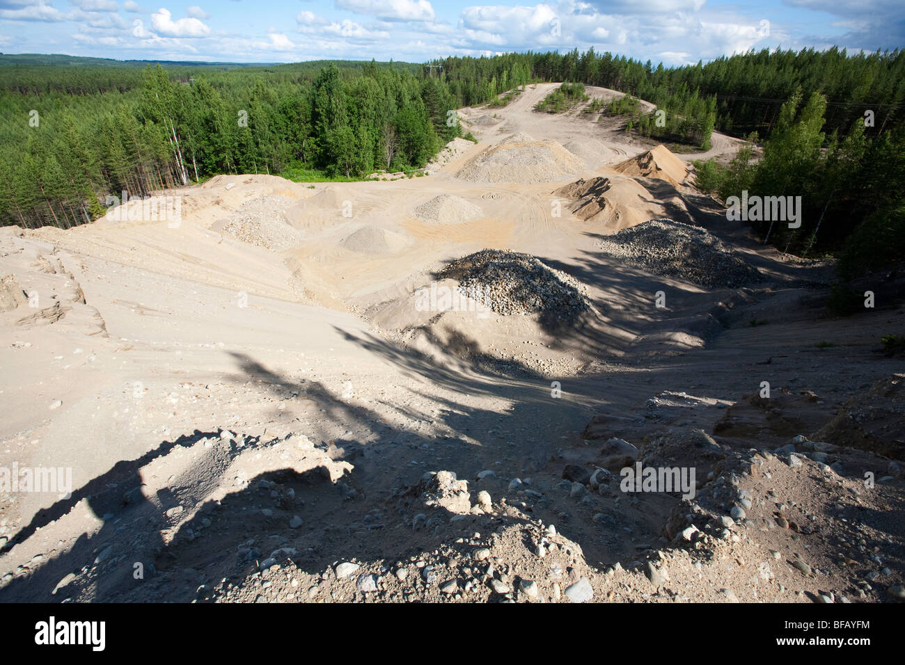 Sandpit on a sandy ridge , glacial esker , Finland - Stock Image