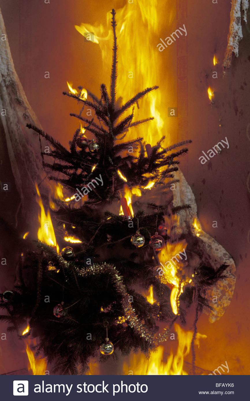 Burning Christmas Tree.Burning Christmas Tree Brennender Christbaum Stock Photo