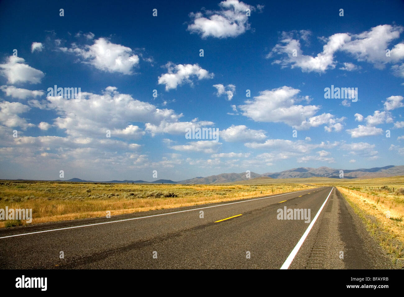 US Highway 20 near Arco, Idaho, USA. Stock Photo