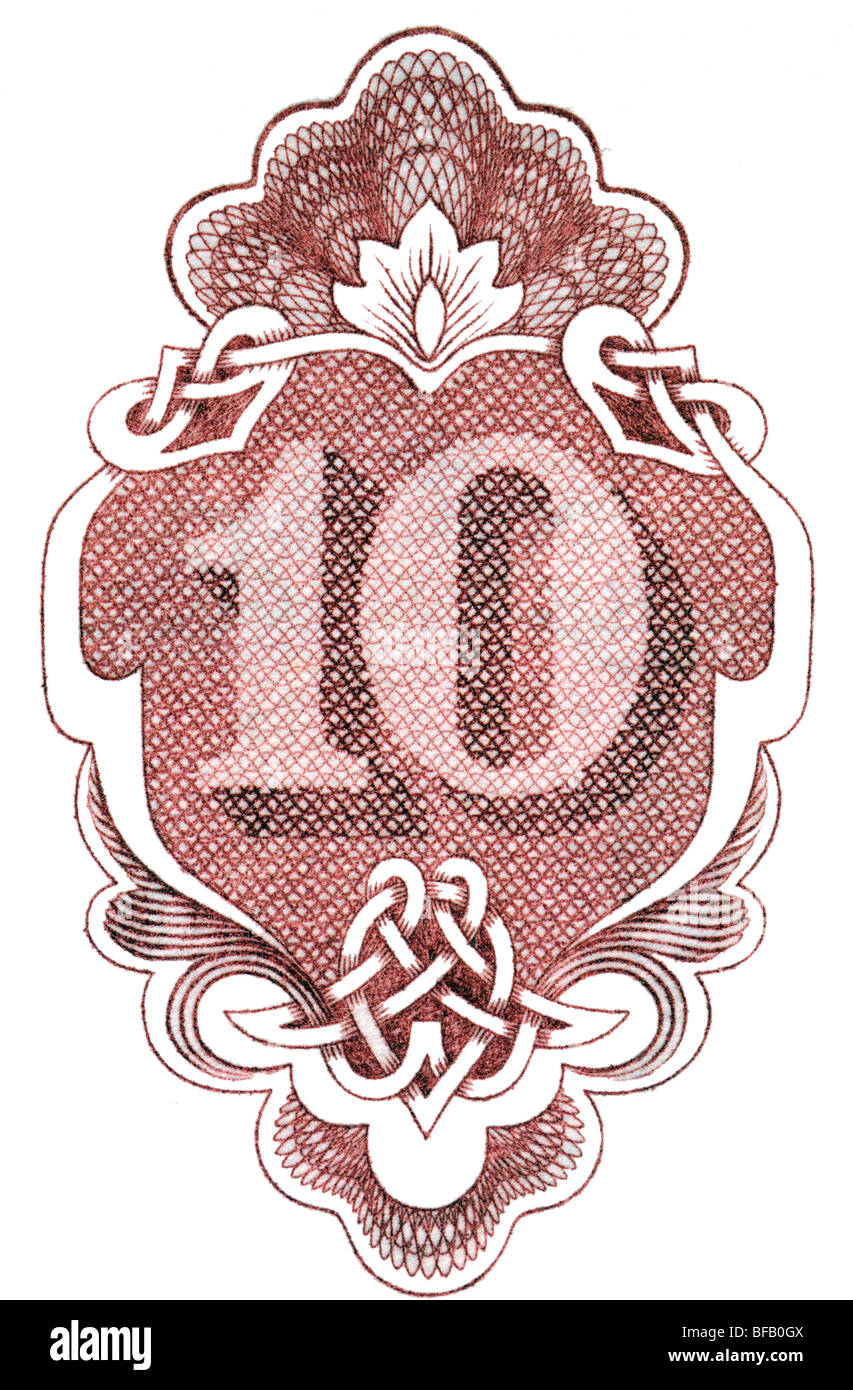 Number 10 from Bulgarian 10 Lev banknote of 1951 - Stock Image