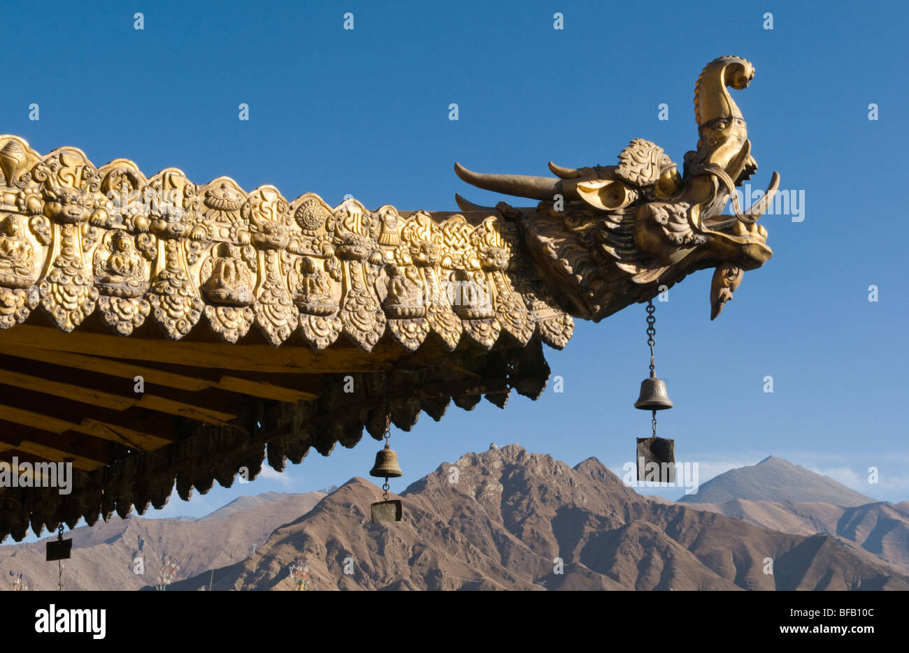 Ornamental roof of the Jokhang Temple in Lhasa Tibet - Stock Image