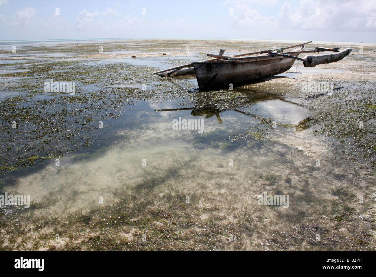 Dhow On Jambiani Beach, Zanzibar - Stock Image