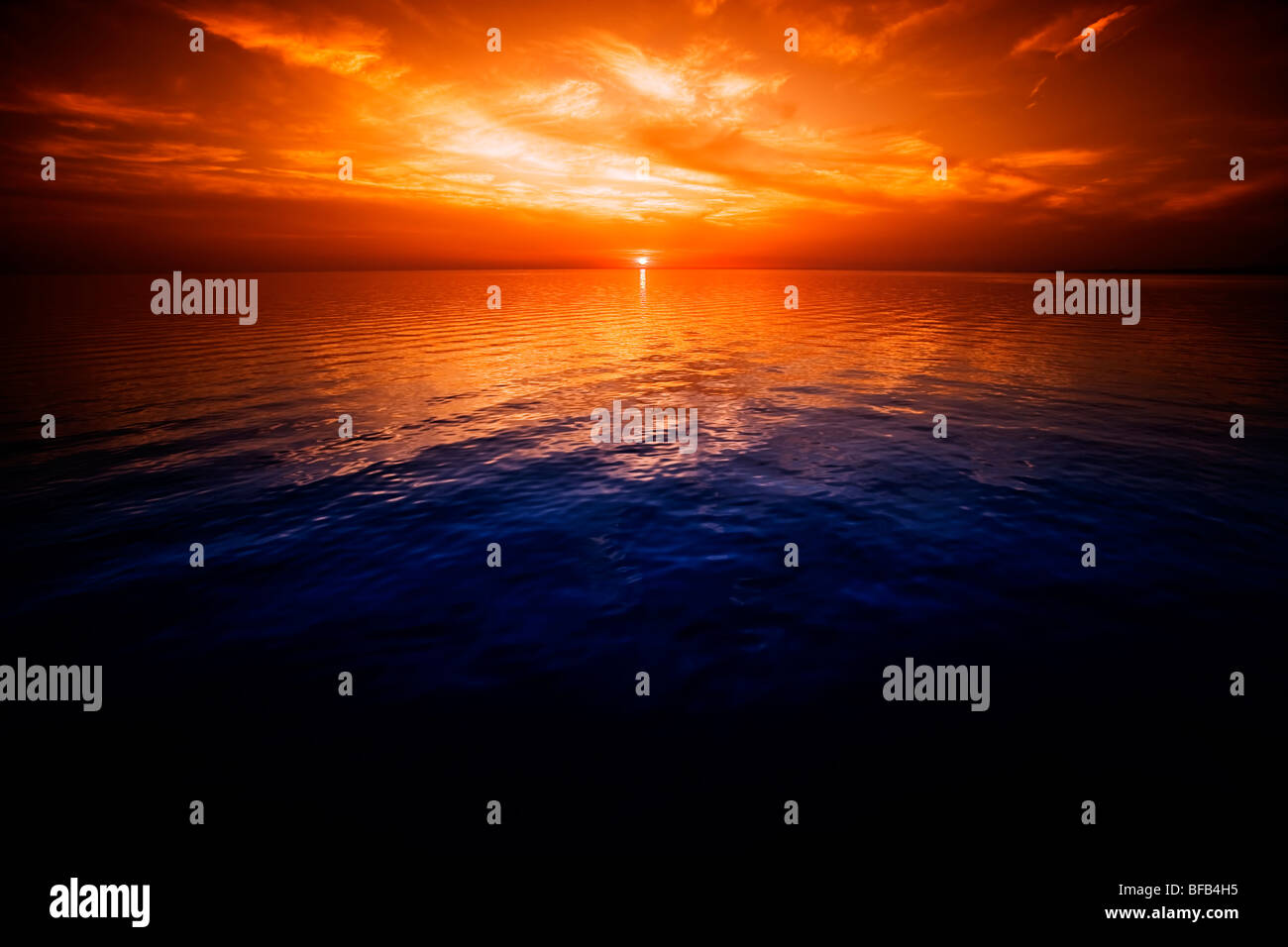 Calming view over the Adriatic Sea at sunset, Croatia - Stock Image