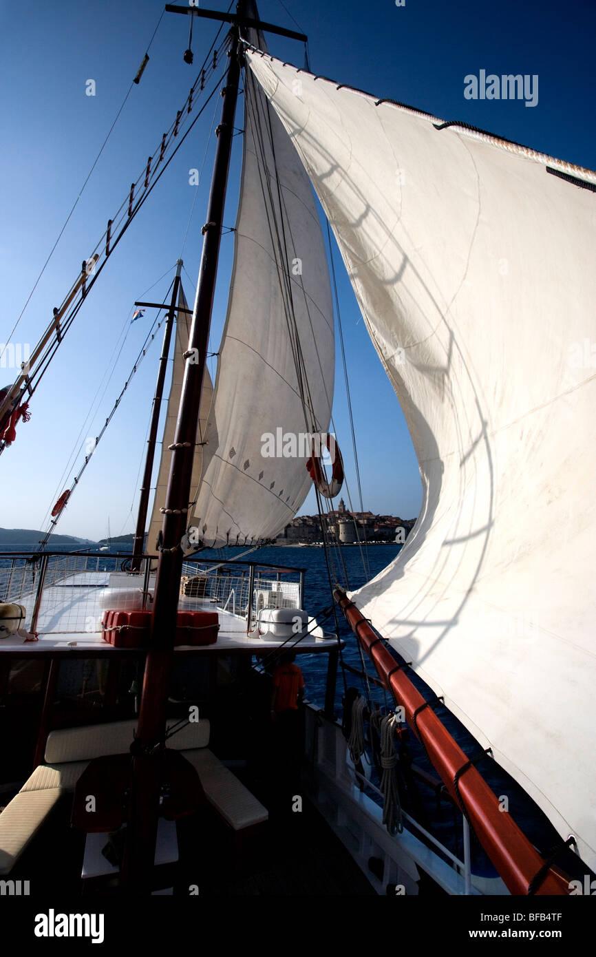 Sailing on an Oldtimer boat across the Adriatic Sea, Croatia - Stock Image