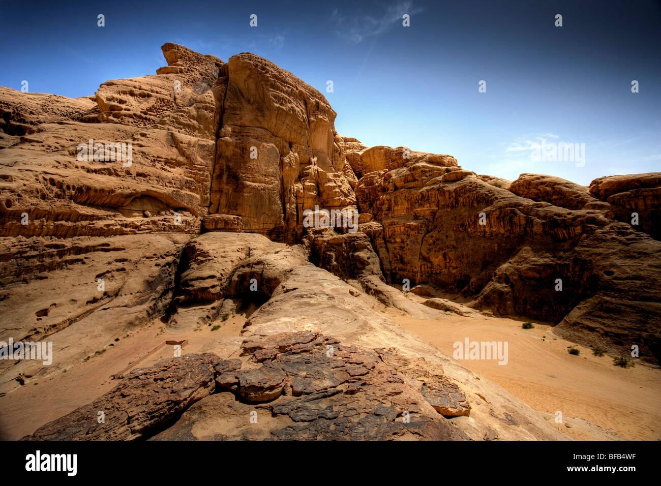 Sandstone monument, Wadi rum, Jordan - Stock Image