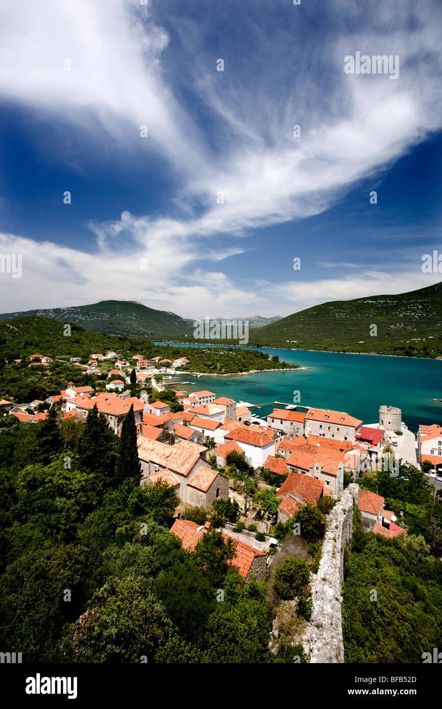 View over mali (little)Ston, Peljisac Peninsula, Croatia Stock Photo