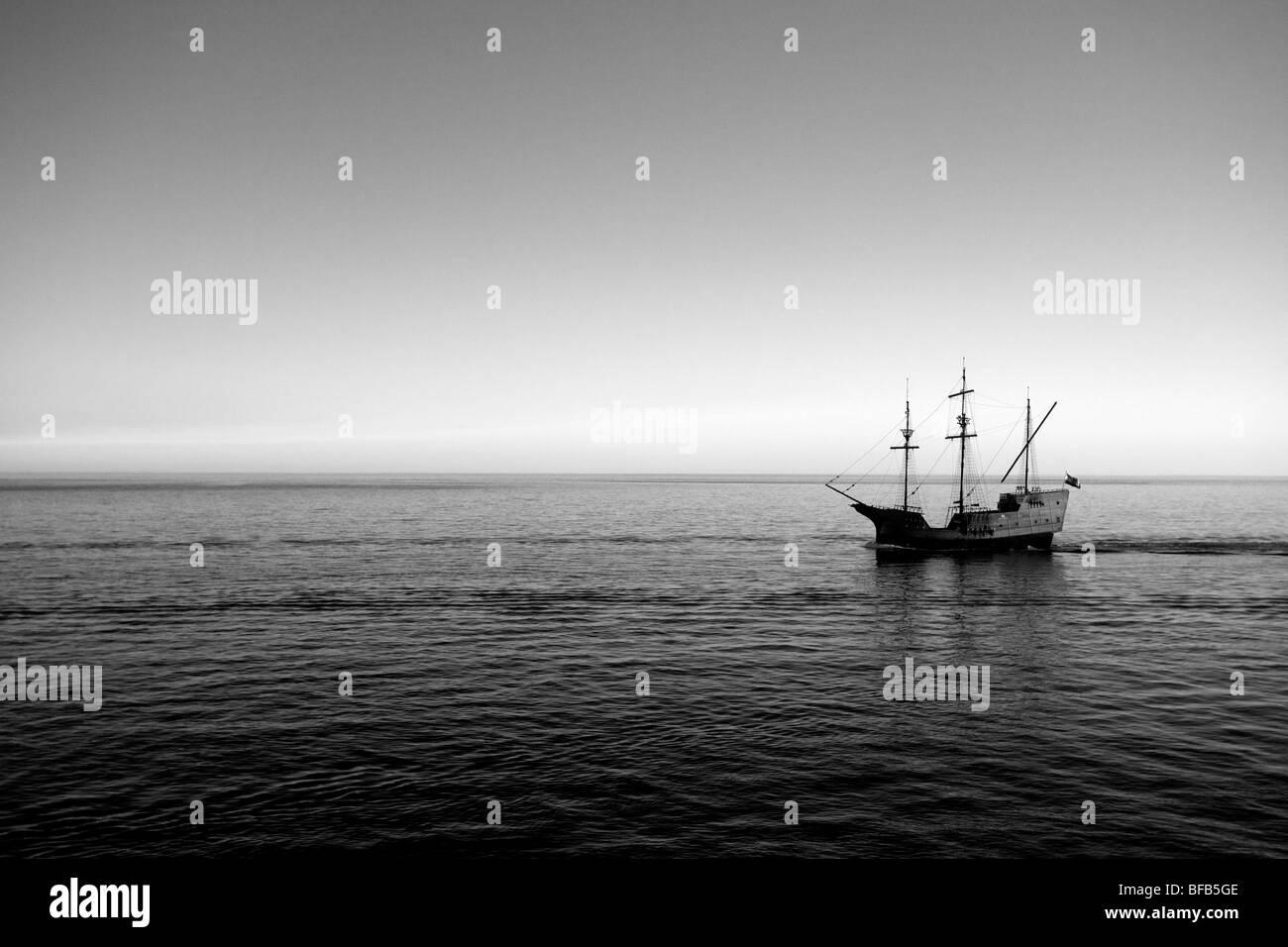 Pirate ship on the Adriatic sea, Dubrovnik, Croatia - Stock Image