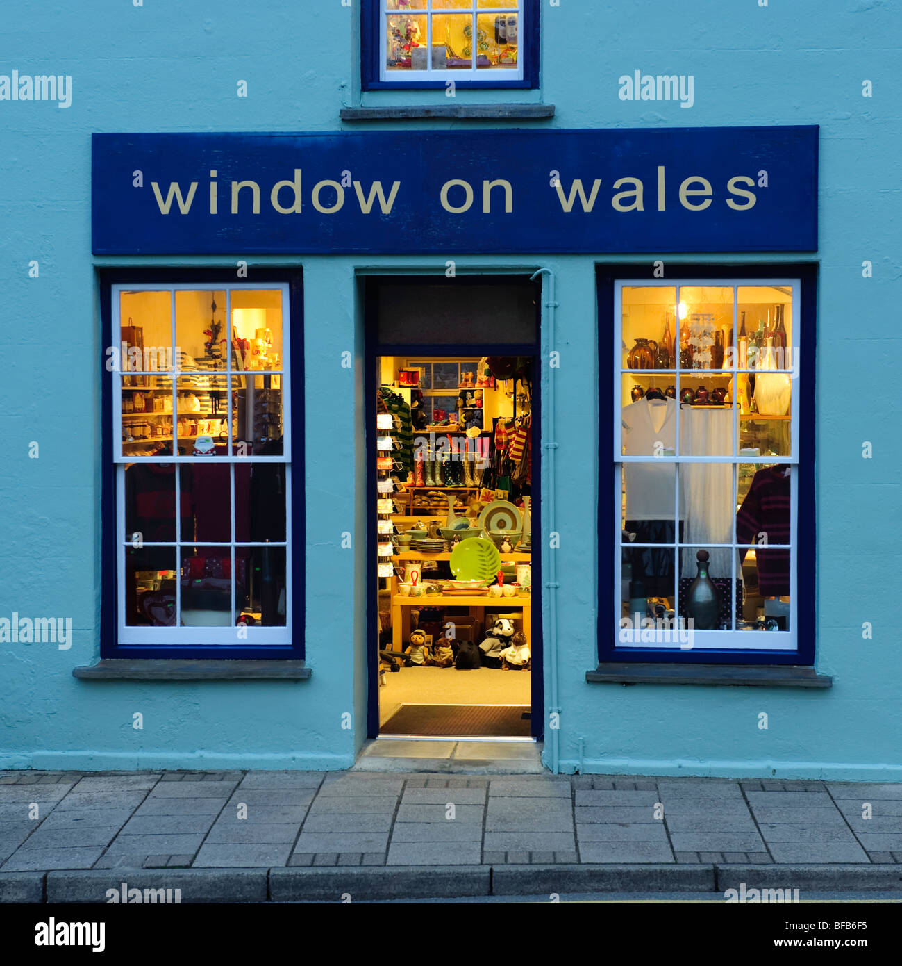 Window on Wales art and crafts gallery  and shop in St Davids city, Pembrokeshire wales UK, early evening - Stock Image