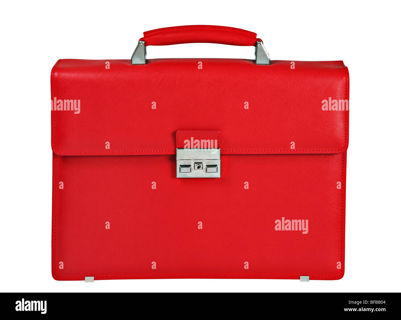 Red briefcase detail on white background - Stock Image