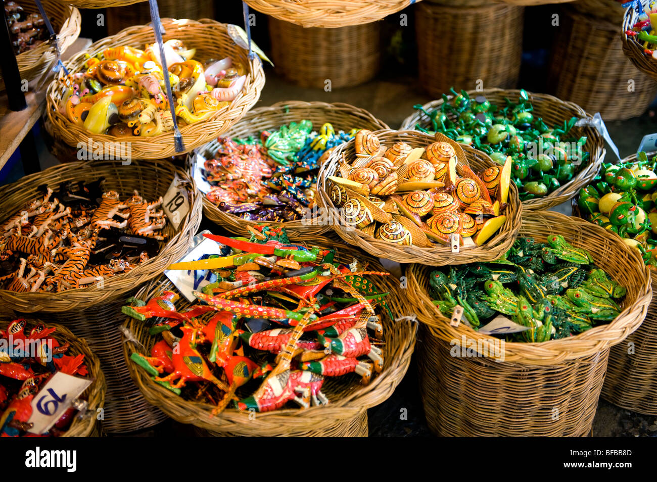 Variety of magnet animal wood in the basket selling at chatuchak weekend market,Bangkok,Thailand. - Stock Image