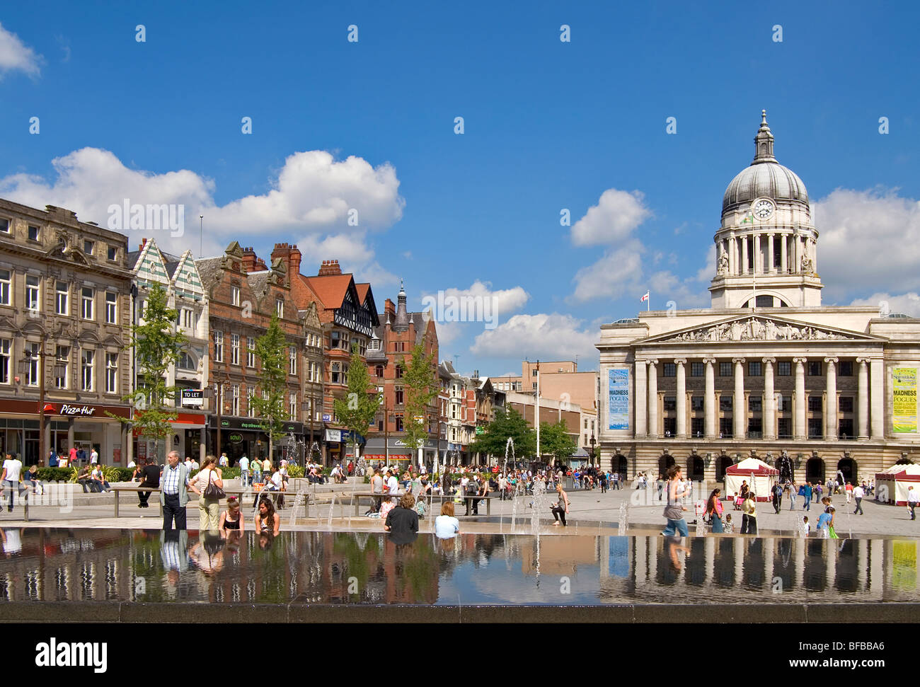 At the Old Market Square in Nottingham in England. - Stock Image