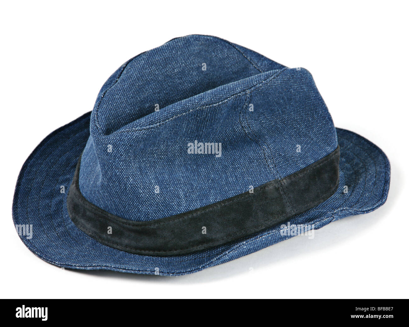 Blue hat accessory on white background - Stock Image