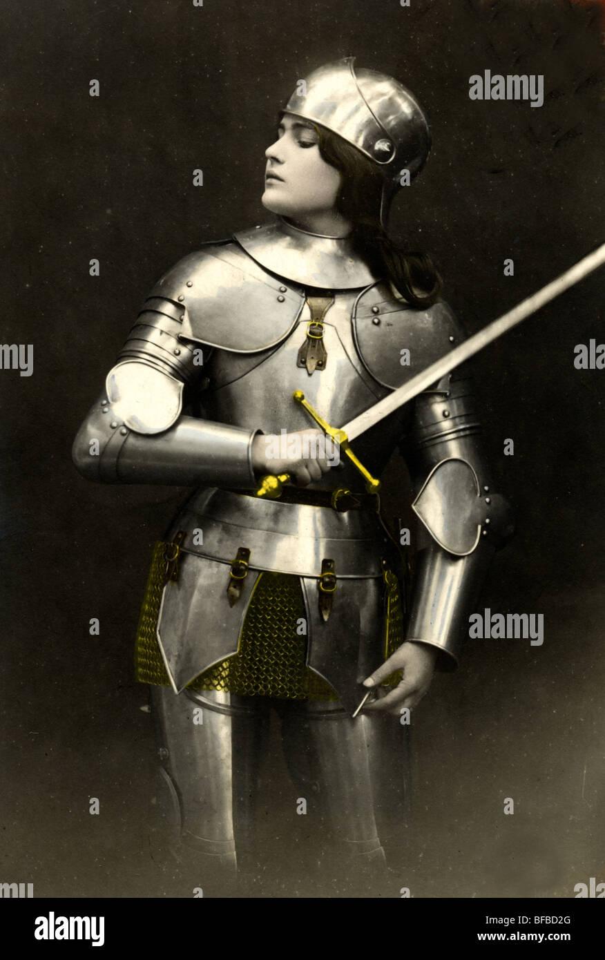 Beautiful Woman Knight in Shining Armor - Stock Image