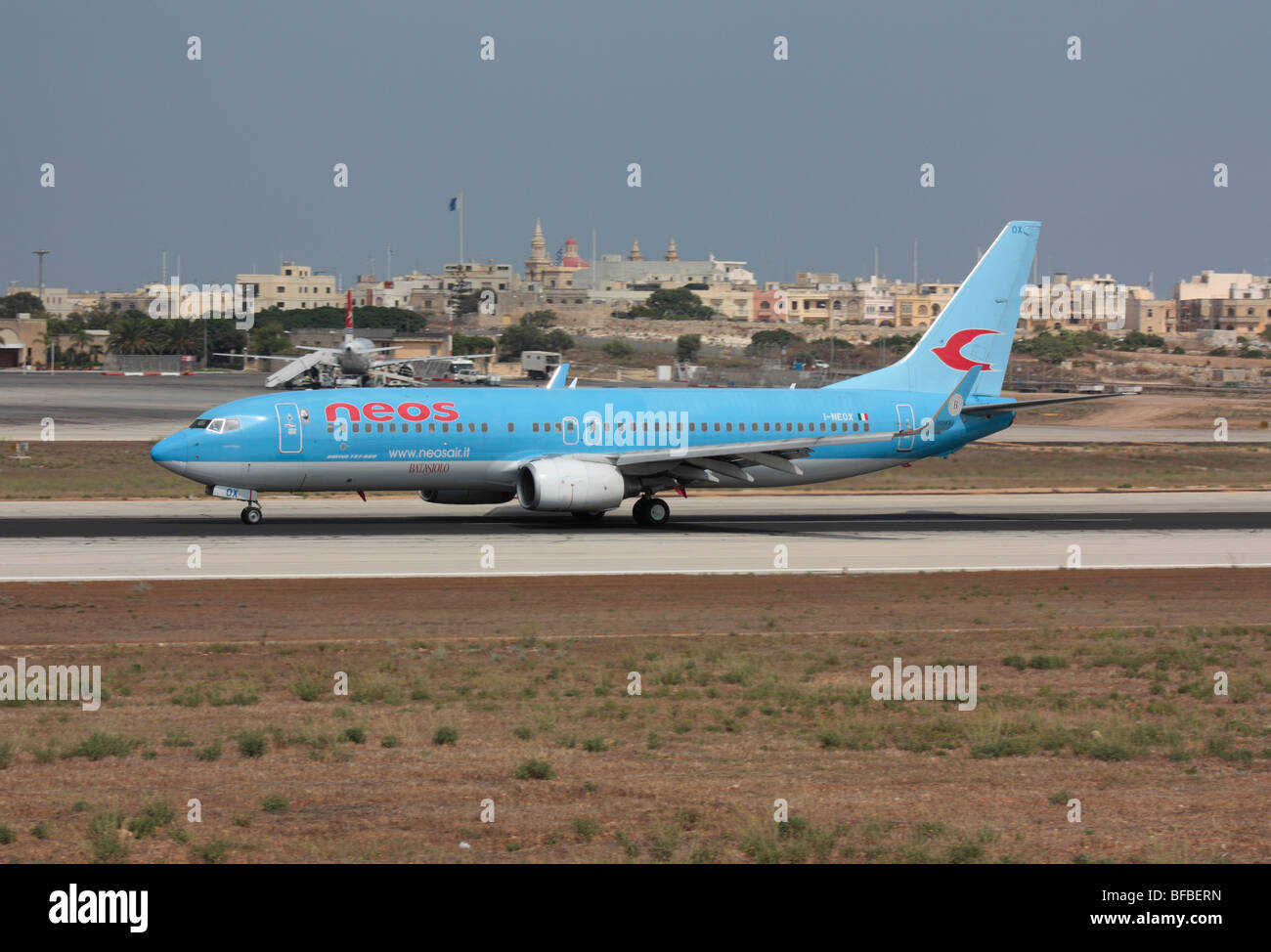 Neos Boeing 737-800 departing from Malta - Stock Image