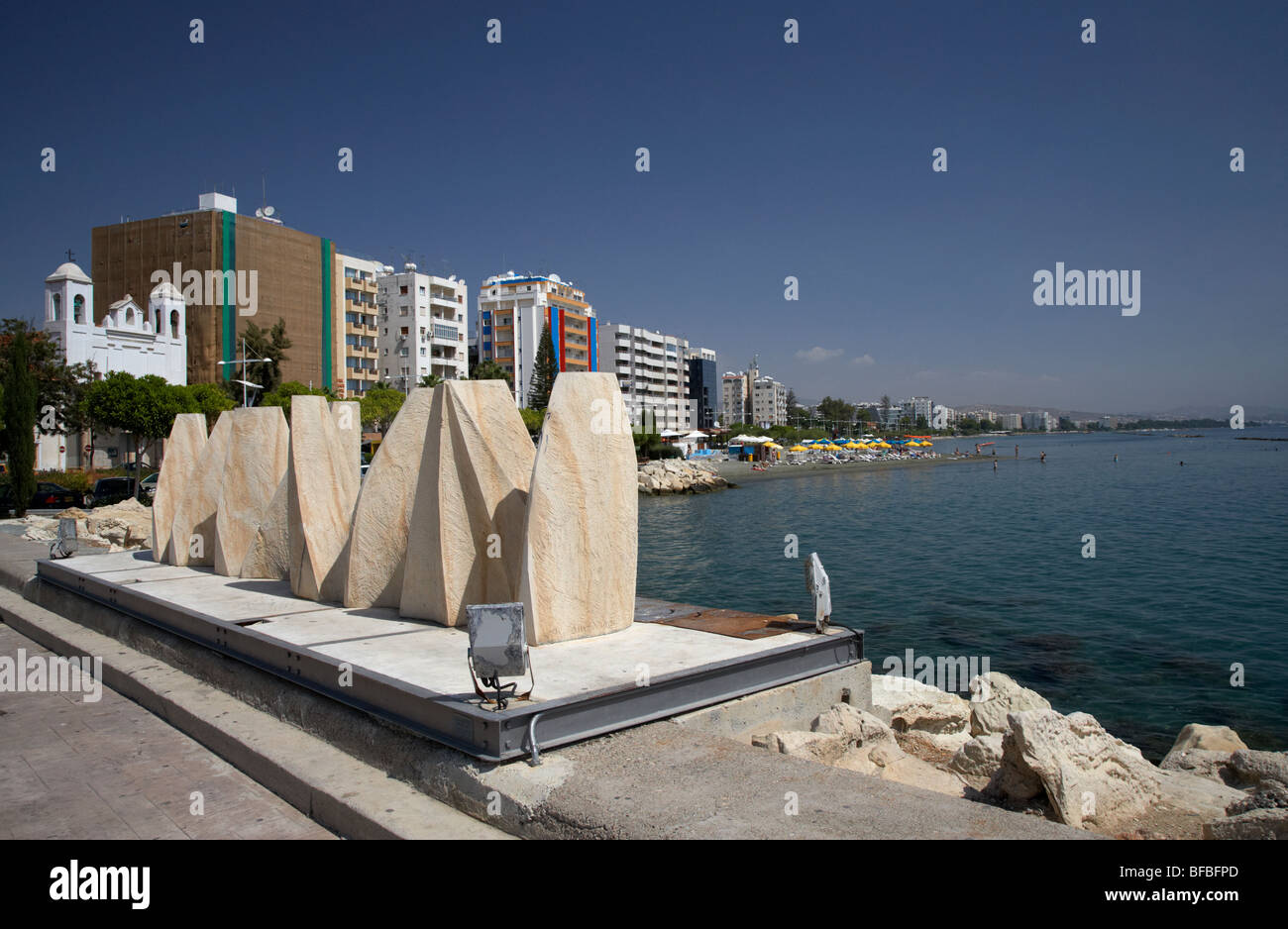 cultural wave sculpture by costas dikefalos in Limassol sculpture park in twin cities park on reclaimed land lemesos - Stock Image