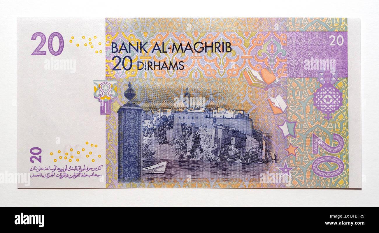 Morrocco 20 Twenty Dirham Bank Note. - Stock Image